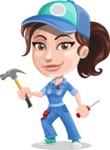 Handy Mechanic Woman Cartoon Vector Character AKA Nicole Fix-it-all - With Hammer and screwdriver