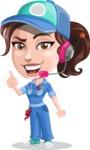 Handy Mechanic Woman Cartoon Vector Character AKA Nicole Fix-it-all - With Headphones