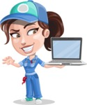 Handy Mechanic Woman Cartoon Vector Character AKA Nicole Fix-it-all - With Laptop and Online Support