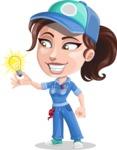 Handy Mechanic Woman Cartoon Vector Character AKA Nicole Fix-it-all - With Light Bulb