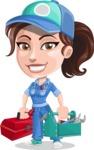 Handy Mechanic Woman Cartoon Vector Character AKA Nicole Fix-it-all - With Mechanic Equipment