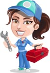Handy Mechanic Woman Cartoon Vector Character AKA Nicole Fix-it-all - With Mechanic Tools Box and Smiling