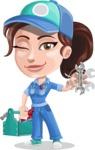 Handy Mechanic Woman Cartoon Vector Character AKA Nicole Fix-it-all - With Mechanic Tools