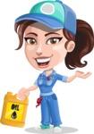 Handy Mechanic Woman Cartoon Vector Character AKA Nicole Fix-it-all - With Oil Tube
