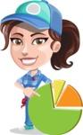 Handy Mechanic Woman Cartoon Vector Character AKA Nicole Fix-it-all - With Pie Chart