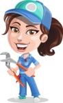 Handy Mechanic Woman Cartoon Vector Character AKA Nicole Fix-it-all - With Pliers
