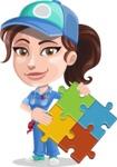 Handy Mechanic Woman Cartoon Vector Character AKA Nicole Fix-it-all - with Puzzle