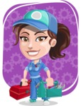 Handy Mechanic Woman Cartoon Vector Character AKA Nicole Fix-it-all - With Repair Tools and Cog Wheels Background