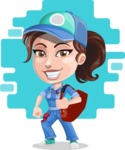 Handy Mechanic Woman Cartoon Vector Character AKA Nicole Fix-it-all - With Sack and Colorful Background Illustration