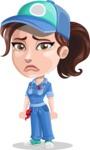 Handy Mechanic Woman Cartoon Vector Character AKA Nicole Fix-it-all - With Sad Face