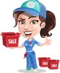 Handy Mechanic Woman Cartoon Vector Character AKA Nicole Fix-it-all - With Sale Boxes