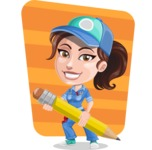 Handy Mechanic Woman Cartoon Vector Character AKA Nicole Fix-it-all - With Simple Style Background Illustration