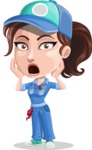 Handy Mechanic Woman Cartoon Vector Character AKA Nicole Fix-it-all - With Stunned Face