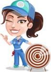 Handy Mechanic Woman Cartoon Vector Character AKA Nicole Fix-it-all - With Target