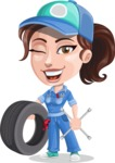Handy Mechanic Woman Cartoon Vector Character AKA Nicole Fix-it-all - with Tire and tools