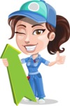 Handy Mechanic Woman Cartoon Vector Character AKA Nicole Fix-it-all - With Up Arrow