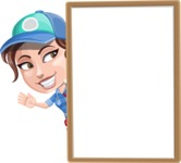 Handy Mechanic Woman Cartoon Vector Character AKA Nicole Fix-it-all - With Whiteboard and Smiling