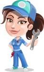 Handy Mechanic Woman Cartoon Vector Character AKA Nicole Fix-it-all - With Wrench