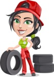 Technician Girl Cartoon Vector Character AKA Tessa the Expert Girl - As Car Mechanic with Vehicle Tires
