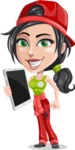 Technician Girl Cartoon Vector Character AKA Tessa the Expert Girl - Being Modern Technician with Smart Tech