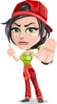 Technician Girl Cartoon Vector Character AKA Tessa the Expert Girl - Finger pointing with angry face