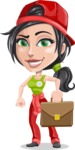 Technician Girl Cartoon Vector Character AKA Tessa the Expert Girl - Going on a Meeting