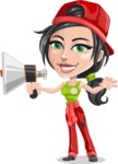 Technician Girl Cartoon Vector Character AKA Tessa the Expert Girl - Holding a Loudspeaker