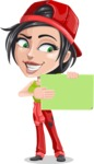 Technician Girl Cartoon Vector Character AKA Tessa the Expert Girl - Holding Blank Presentation Sign