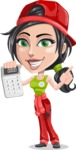 Technician Girl Cartoon Vector Character AKA Tessa the Expert Girl - Holding Calculator