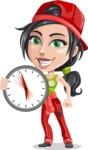 Technician Girl Cartoon Vector Character AKA Tessa the Expert Girl - Holding Clock