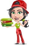 Technician Girl Cartoon Vector Character AKA Tessa the Expert Girl - Holding Education Books
