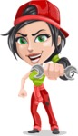 Technician Girl Cartoon Vector Character AKA Tessa the Expert Girl - Holding Wrench as a Super Mechanic