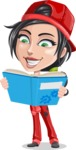 Technician Girl Cartoon Vector Character AKA Tessa the Expert Girl - Learning From a Book