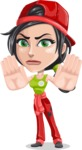 Technician Girl Cartoon Vector Character AKA Tessa the Expert Girl - Making stop gesture