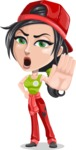 Technician Girl Cartoon Vector Character AKA Tessa the Expert Girl - Making stop with a hand