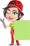 Technician Girl Cartoon Vector Character AKA Tessa the Expert Girl - Presenting A Blank Sign