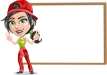 Technician Girl Cartoon Vector Character AKA Tessa the Expert Girl - Presenting on Blank Whiteboard Template