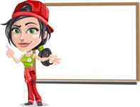 Technician Girl Cartoon Vector Character AKA Tessa the Expert Girl - Presenting on Whiteboard