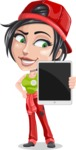 Technician Girl Cartoon Vector Character AKA Tessa the Expert Girl - Showing a Blank Tablet