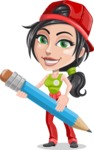 Technician Girl Cartoon Vector Character AKA Tessa the Expert Girl - Sketching with Pencil