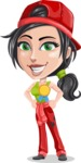 Technician Girl Cartoon Vector Character AKA Tessa the Expert Girl - Winning a Prize for Best Mechanic