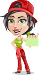 Technician Girl Cartoon Vector Character AKA Tessa the Expert Girl - With a Blank Business card