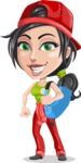 Technician Girl Cartoon Vector Character AKA Tessa the Expert Girl - With Big Sack with Tools