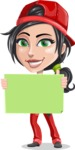 Technician Girl Cartoon Vector Character AKA Tessa the Expert Girl - With Blank Sign