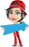 Technician Girl Cartoon Vector Character AKA Tessa the Expert Girl - With Forward Arrow