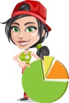 Technician Girl Cartoon Vector Character AKA Tessa the Expert Girl - With Pie Chart