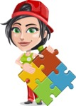 Technician Girl Cartoon Vector Character AKA Tessa the Expert Girl - with Puzzle