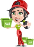 Technician Girl Cartoon Vector Character AKA Tessa the Expert Girl - With Sale Boxes