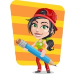 Technician Girl Cartoon Vector Character AKA Tessa the Expert Girl - With Simple Style Background Illustration