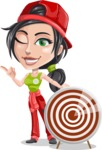 Technician Girl Cartoon Vector Character AKA Tessa the Expert Girl - With Target